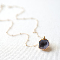 Crystal Geode Necklace, Drusy Druzzy Necklace, Amethyst Quartz Necklace,Lavender Purple Crystal Necklace,Geode Gold Dipped,Small drusy Geode