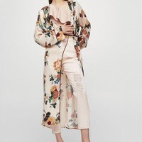 DCCKFS2 2018 New Large floral Silk Satin Lady Robe Sexy Print Bathrobe Long Kimono Robe Women Fashion Dressing Gown Female