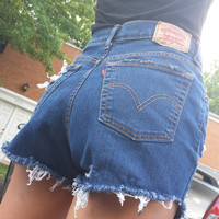 Levis destroyed high waisted shorts