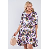 Plus White Floral 3/4 Sleeve Midi Dress