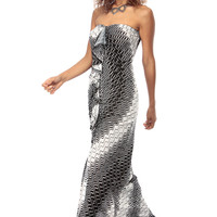 Chevron Print Strapless Front Slit Maxi Dress