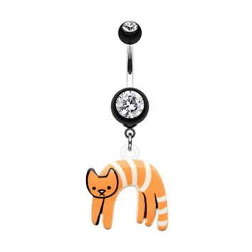 Lounging kitty Belly Button Ring