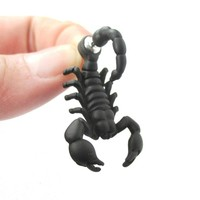 Fake Gauge Earrings: Realistic Scorpion Bug Shaped Front and Back Stud Earrings in Black
