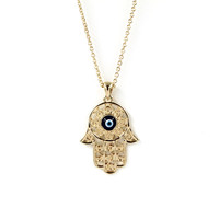 2015 New Fashion Gold Color Blue Evil Eye Hamsa Hand Fatima Palm Necklace For Women Fine Jewelry Maxi Necklace 8420