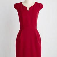 Mid-length Short Sleeves Sheath Cove Conference Dress in Ruby