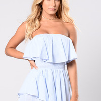 In The DM's Romper - Light Blue