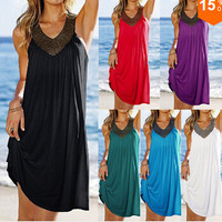 Ruffle V-neck Beach Dress Beach One Piece Dress = 5861500289