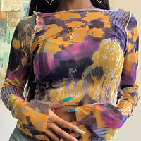 2020 new women's round neck long sleeve see-through mesh printing T-shirt