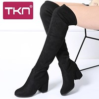 TKN 2019 Winter Women Over The Knee High Boots Faux Suede Slim Snow Boots Chaussure Femme Thigh High Boots Shoes Woman A7511