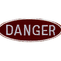 Red Danger Sign Patch Iron On Applique Alternative Clothing Gunge Style