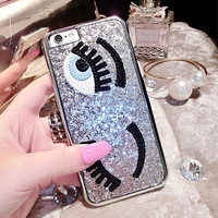 Hot Luxury 3D Sequins Following Flirting Eyes Fundas Hard Plastic Phone Cases Cover For iPhone 5 5G 5S SE 6 6S 4.7 6Plus 5.5