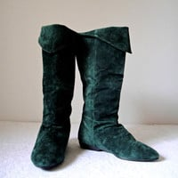 Vintage. 80's. Classique. Leather Suede Boots. Forest Green. Pirate. Slouchy. Cuffable. Knee High & Calf. Flats. Size 8.5