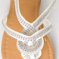 Woven Jeweled Thong Sandal - White from Sandals at Lucky 21 Lucky 21