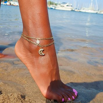 Moon & Mary Anklet Set