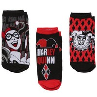 DC Comics Harley Quinn Laughing Diamonds Black/Red Ankle Socks - 3 Pack