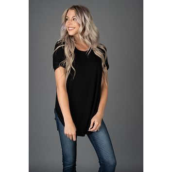 The Payton Tunic Top in BLACK (S-XL)
