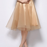 Apricot Semi-sheer Knee High Skirt With Bow Belt