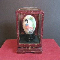 Vintage Hand Painted Chinese Egg in Glass Case, Handmade Asian Decorative Display
