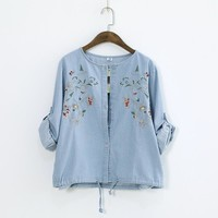 Vintage Cotton Linen Floral Embroidery Shirt Women Long Sleeve Drawstring Button Up Blouses