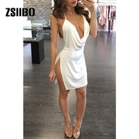 summer solid color white wine red backless strap dress side open deep V-neck sexy dress temperament mini dress