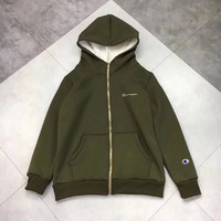 Champion Fashion Zipper Cardigan Top Jacket Coat Hooded