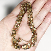 Vintage 1940s 1950s Estate Jewelry, Elco 12K GF Double Link Curb Chain, Gold Filled Bracelet, Starter Charm Bracelet with Safety Chain