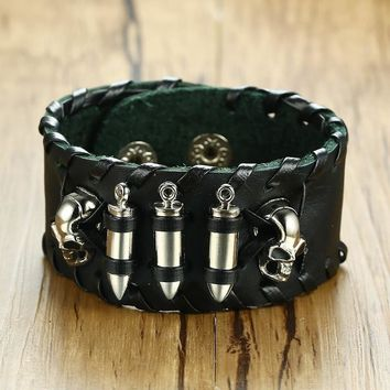 Vnox Punk Cool Skull Bullet Tough Man Genuine Real Leather Wide Wrist Band Mens Charm Bracelet Pulseira Jewelry Male Wristband