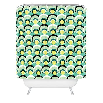 Raven Jumpo Blue Green Scallops Shower Curtain