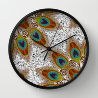 Pretty Peacock Feathers Wall Clock by ArtLovePassion
