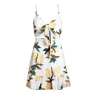 White Fruity Print Tie Front Bralette and A-line Mini Skirt Set