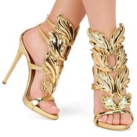 2016 new summer sandals Rome Street pat wings flame high heels leaf wedding shoes high quality pump women shoes
