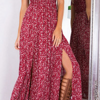 Off Shoulder Print Slit Maxi Dress