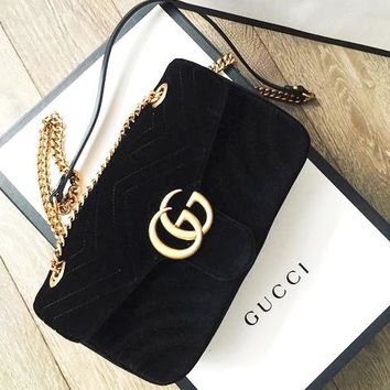 GUCCI classic suede chain bag shoulder bag