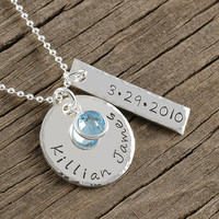 Personalized Necklace - hand stamped jewelry - Name - date - Perfect for new mom - anniversary - wedding - engagement - new baby