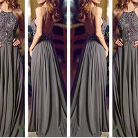 Backless Gray A-Line Beading Prom Dresses