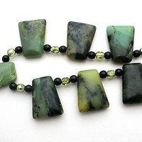 Vintage Sterling Silver Necklace with Green Moss Agate