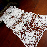 Crocheted Table Runner, Spral Patterned Table Scarf, White Vintage Table Linens 12374