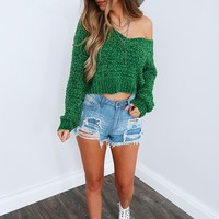 Turn It Up Sweater: Green