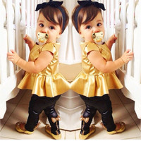 Hot Selling Fashion Baby Girls Kids Shirt Dress+Legging Pants Children Clothes Sets Suit Outfits Golden+Black