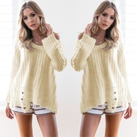 Pullover Hot Sale Long Sleeve Ripped Holes Sweater [11598572564]