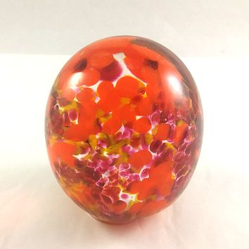 Handmade Art Glass Easter Egg Paperweight, Orange and Red, Large