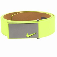 Licensed Golf New Nike Mens Sleek Modern Plaque Leather  Belt - Volt - 42