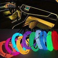 Okeen 1m/2m/3m/5m Neon LED Car Interior Lighting  Strips Auto LED Strip Garland EL Wire Rope Car Decoration lamp Flexible Tube