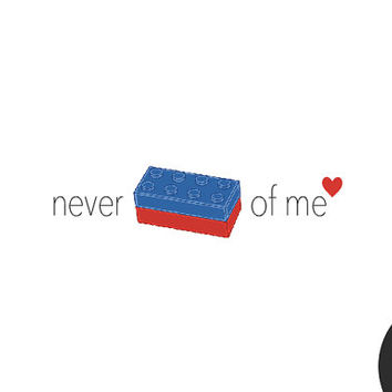 Never lego of me - Pack of 12 // Love Card // Anniversary card // Boyfriend card // Girlfriend card // Wife card // Husband card