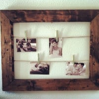 Rustic Clothesline Picture Frame, Twine, Clothespin Frame SHIPS IN 3-5 DAYS!