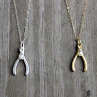 Gold or Sterling Silver Wishbone Charm and Pearl Necklace on 14k Gold Filled or Sterling Silver Chain Pendant Necklace