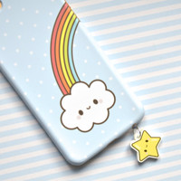 Cute Kawaii Smiley Happy Star Dust Plug Phone Charm