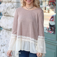 Leave a Trail Bell Sleeve + Chiffon Blouse {Mocha}