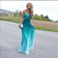 Gradient Color Strapless Backless Pleated Sleeveless Bridesmaid Evening Dress