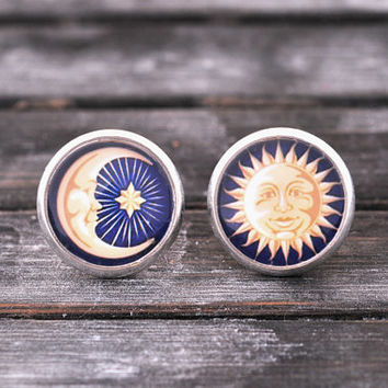 Moon and sun earrings, brass earrings, post earrings, stud earrings, crescent moon earrings, glass earrings, antique bronze / silver plated